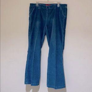 Blue Corduroy flair leg Pants